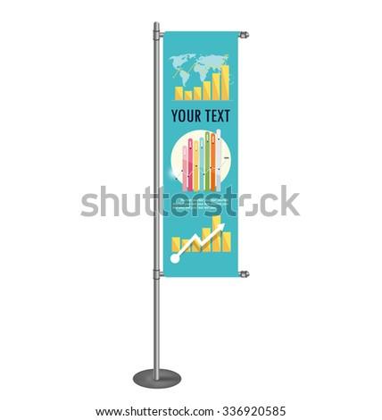 Vector blank banner flag for designers - stock vector