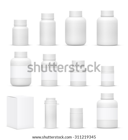 Vector Blank Big Set of Plastic Packaging Bottles with Cap for Cosmetics, Vitamins, Pills or Capsules - stock vector