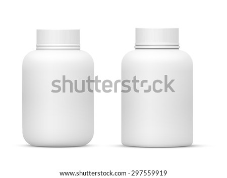 Vector Blank Big Size Plastic Packaging Bottles with Cap for Cosmetics, Vitamins, Pills or Capsules - stock vector