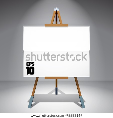 Vector Blank Canvas on Painting Easel - stock vector
