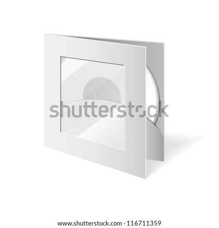 Vector blank cd box, case with window and disc - stock vector