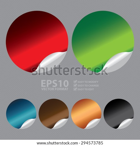 Vector : Blank Circle Metallic Peeling Sticker, Label, Sign or Icon - stock vector
