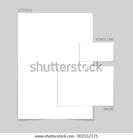 Vector blank corporate identity template consisting of letterhead, business card and envelope (or greeting card) for represent print design