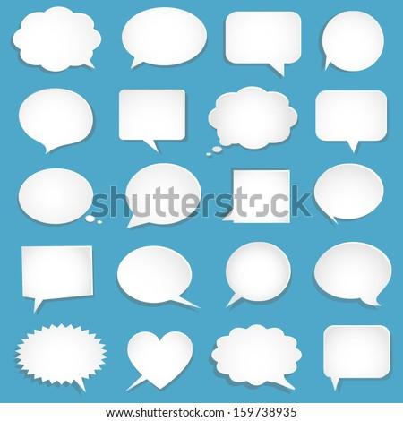 Vector blank empty white speech bubbles - stock vector