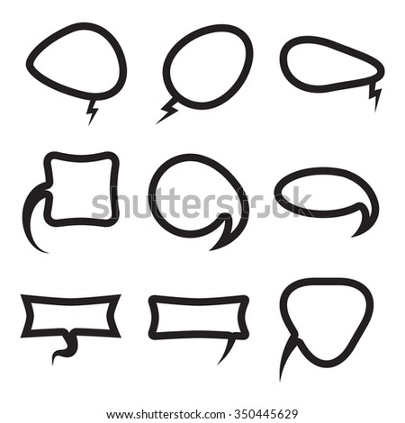 Vector Blank empty white speech bubbles shapes set. Balloon flat design collection.