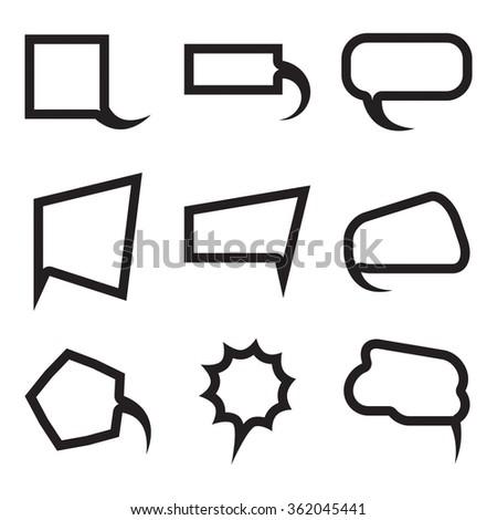 Vector Blank empty white speech bubbles shapes set. Balloon flat design collection.  - stock vector