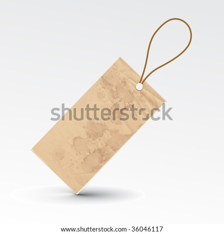 vector blank grunge tag tied with brown string.