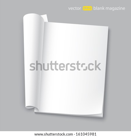 vector blank magazine with transparent shadows - stock vector