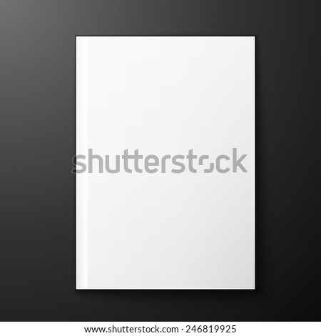 Vector blank page of magazine on black background. Template for design - stock vector