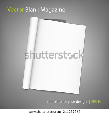 Vector blank page of magazine on grey background. Template for design. Using mesh - stock vector