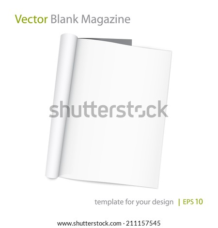 Vector blank page of magazine on white background. Template for design. Using mesh - stock vector