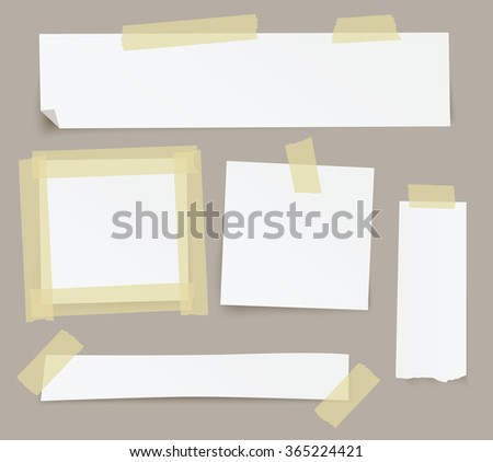 Vector blank paper backgrounds fixed with sticky tape. - stock vector