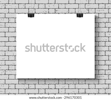 Vector Blank paper poster mock up on the brick wall. Template of a paper sheet with clips. Paper card hanging on the rope. - stock vector
