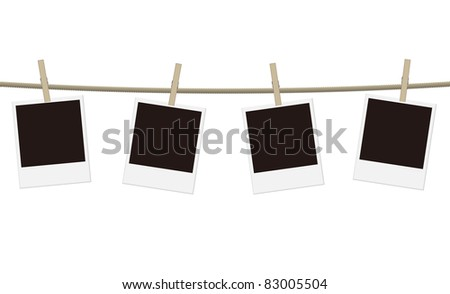 vector blank photo frames on a clothesline - stock vector