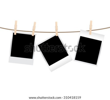 vector blank photo frames on a clothesline isolated on white background - stock vector