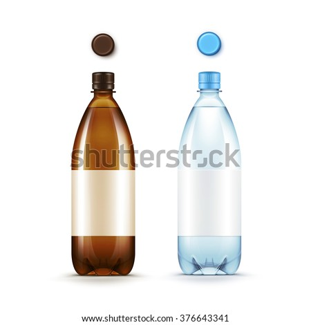 Vector Blank Plastic Brown and Blue Bottle with Set of Caps Isolated on White Background - stock vector
