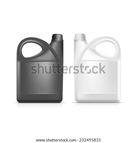 Vector Blank Plastic Jerrycan Canister Gallon Oil Cleanser Detergent Abstergent Isolated - stock vector