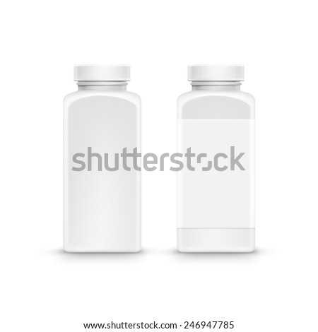 Vector Blank Plastic Packaging Bottle with Cap for Pills Isolated on White Background - stock vector