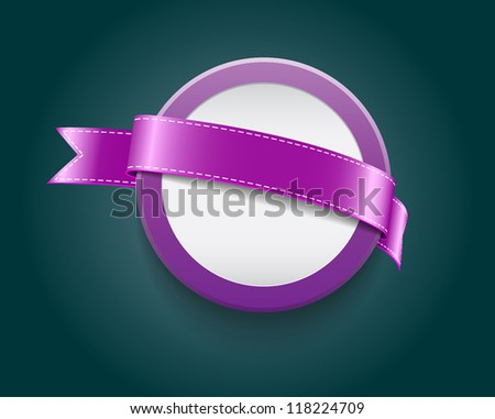 Vector blank plastic round badge / banner decorated with purple ribbon - stock vector