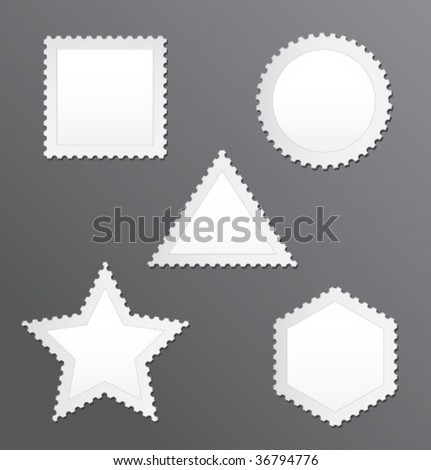Vector blank postage stamps set on a grey background - stock vector
