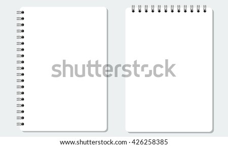 Vector Blank realistic spiral notepad or notebook with solid flat color. Isolated with solid background. - stock vector