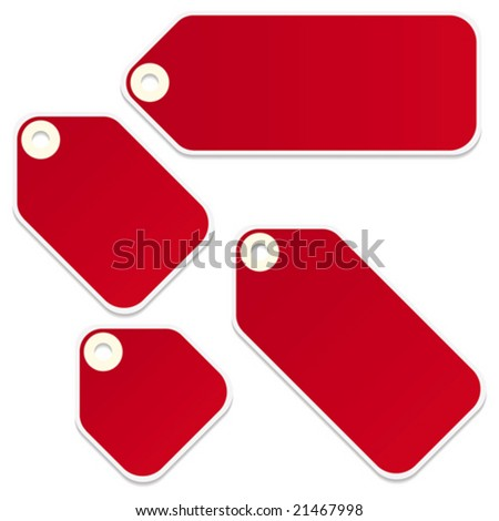 Vector blank retail tags isolated on a white background - stock vector