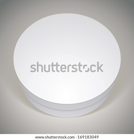 Vector blank round box, template for your package design, put your image over the pack in multiply mode, illustration eps 8. - stock vector