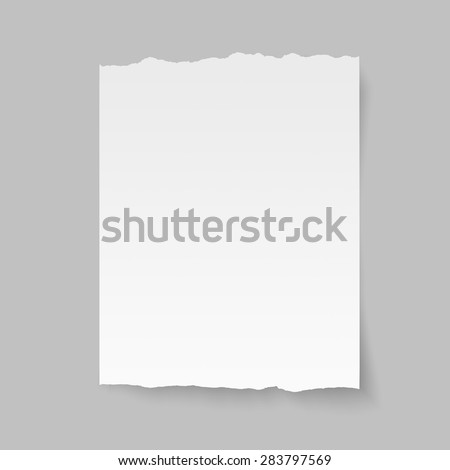 Vector blank sheet of torn paper. - stock vector