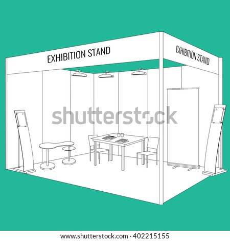 Vector Blank trade exhibition booth stand with table and chair, info board, roll up, flyers and brochures on the table. Trendy outline style - stock vector