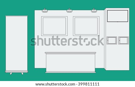 Vector Blank trade exhibition booth stand with table, roll up, tv, frames and tablets. Trendy outline style - stock vector