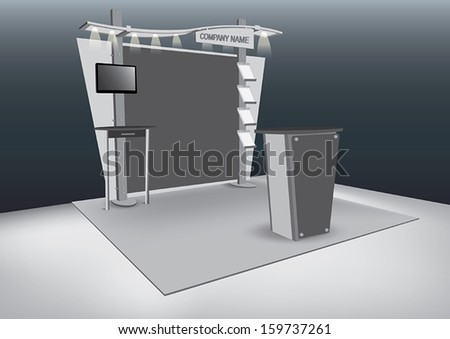 Vector Blank trade exhibition stand with LCD Screen - stock vector