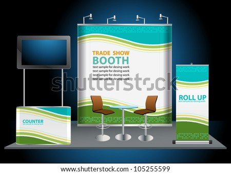 Vector Blank trade exhibition stand with widescreen lcd monitor, counter, chair, roll-up banner and lights with identity background ready for use. - stock vector