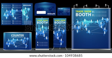Vector Blank trade exhibition, with global social networking identity background ready for use - stock vector