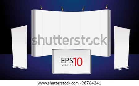 Vector blank trade show booth and roll up banner, counter promotion display - stock vector