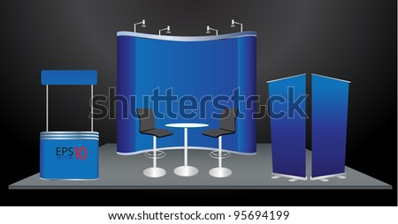 Vector blank trade show booth and roll up banner display - stock vector