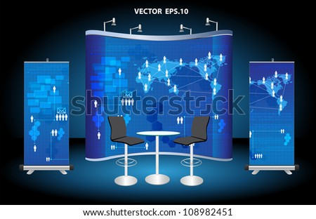 Vector blank trade show booth, with roll up banner and virtual business network process diagram identity background ready for use. - stock vector