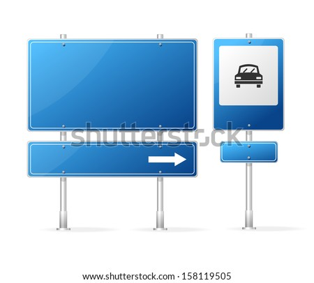 Vector Blank Traffic Sign isolated on white - stock vector