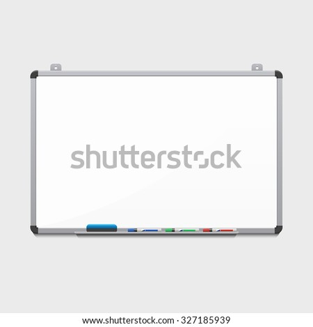 Vector blank white board with colored markers. Billboard and business, education and empty space illustration - stock vector