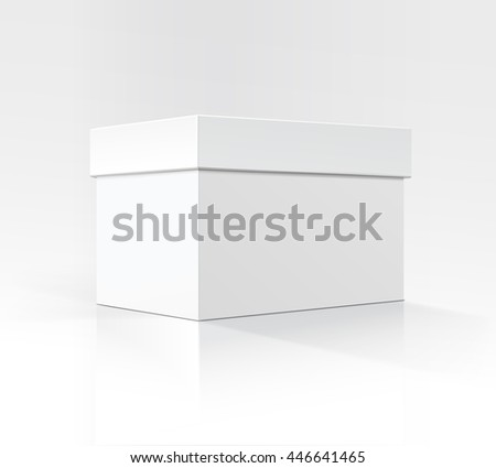 Vector Blank White Horizontal Rectangular Carton box in Perspective for package design Close up Isolated on White Background - stock vector