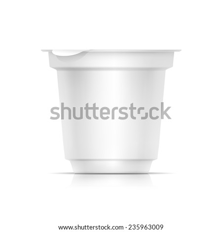 Vector Blank White Packaging Container for Yogurt, Ice Cream or Dessert - stock vector