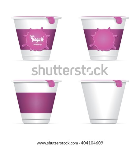 Vector Blank White Packaging Container for Yogurt. yogurt label or sticker set - stock vector
