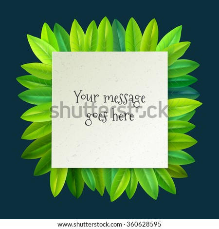 vector blank white page with green leaves frame - stock vector