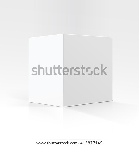 Vector Blank White Square Carton box in Perspective for package design Close up Isolated on White Background - stock vector