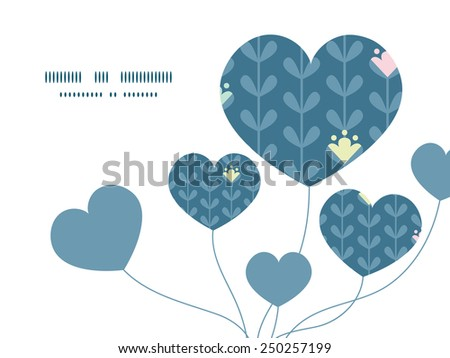 Vector blloming vines stripes heart symbol frame pattern invitation greeting card template