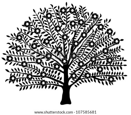 Vector Blooming Tree Silhouette Isolated  on White Background - stock vector