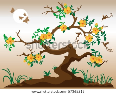 Vector Blooming tree with hummingbirds and butterflies. Deep yellow flowers with orange center. Grass and plants at underneath tree. Bark is in shades of brown. - stock vector