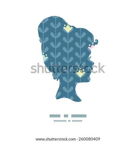 Vector blooming vines stripes girl portrait silhouette pattern frame - stock vector