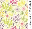 Vector blossoming trees seamless pattern background with colorful spring flowers. - stock photo