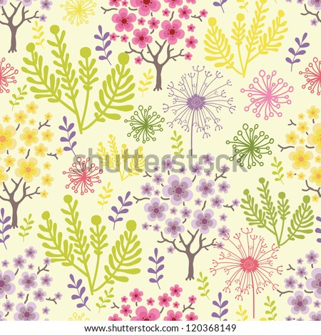 Vector blossoming trees seamless pattern background with colorful spring flowers. - stock vector