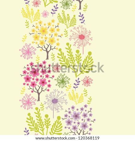 Vector blossoming trees vertical seamless pattern ornament background with colorful spring flowers. - stock vector